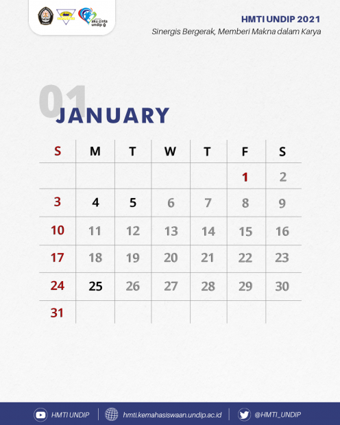 TI Calendar: Januari